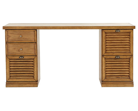 Ballard Designs - Sommerville Standard Desk - Crafted hardwood & fine oak veneers. Warm Oak finish. Holds Legal or Letter size files. Full extension glides. Antique Brass hardware. Airy louvered drawers give our Somerville Office Collection a casual Friday feel. Choose from 2 - Drawer File Cabinets or 3 - Drawer File Cabinets. Mix and match to create a custom space to fit your work and storage needs. Standard Desk features: . . . . .