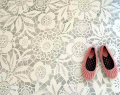 lace stenciled floor