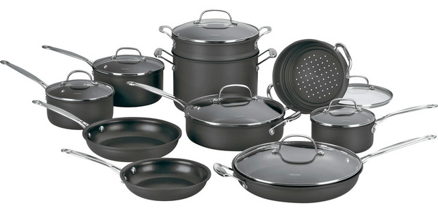 Cuisinart Chef's Classic Non-Stick Hard Anodized 17-Piece Cookware Set contemporary-cookware-sets