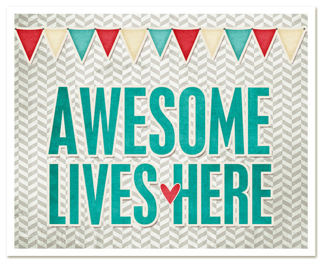 Awesome Lives Here Poster Print contemporary-novelty-signs