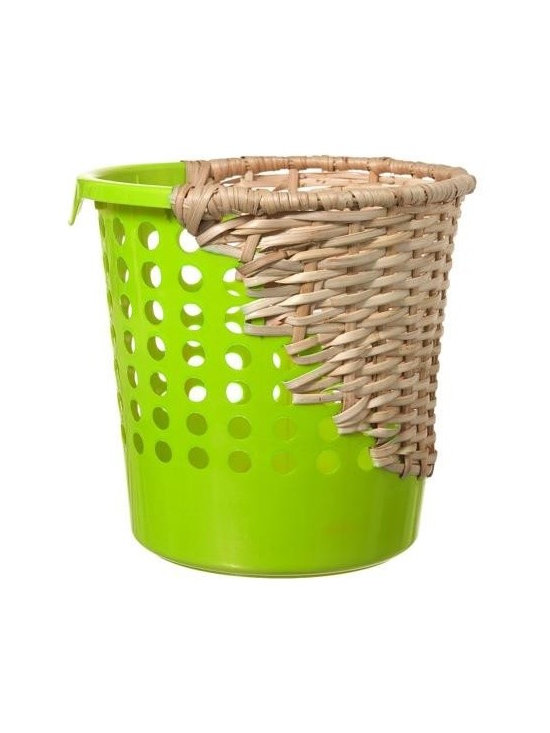 Cordula Kehrer Green Bow Bin - This whimsical Bow Bin waste basket by Cordula Kehrer is a study in contradiction. The Bin is produced by the indigenous Aeta people of the Philippines via fair trade NGO.