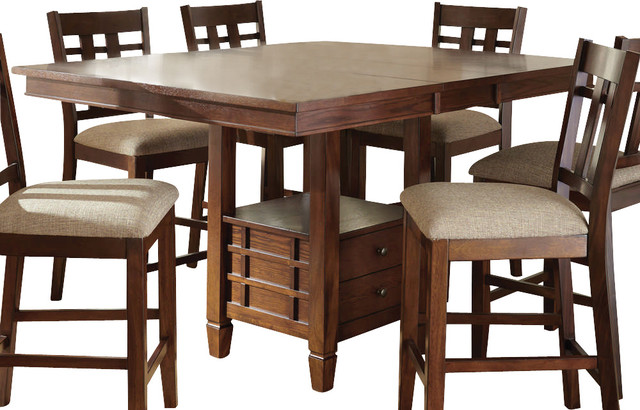 Steve Silver Bolton 48 Inch Square Counter Height Table w/ 12 Inch Butterfly Lea contemporary-dining-tables