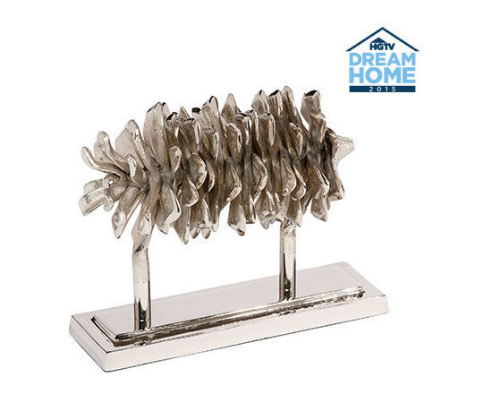 Ethan Allen - Nickel Pine Cone on Stand - This piece captures the beauty of the ubiquitous pinecone. Designed true-to-life with naturally layered scales and finished in a polished nickel, it adds a dazzling element of nature to tablescapes and mantels.