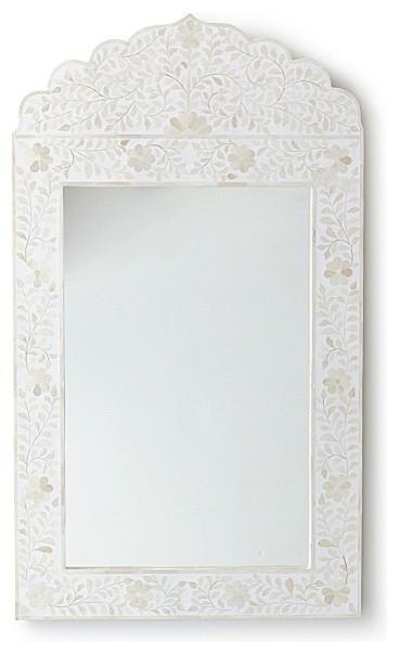 Maya Inlay Mirror  White mediterranean-wall-mirrors