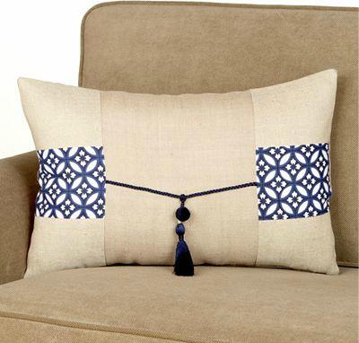 Jute Lumbar Pillow With Tassel Asian Decorative Pillows