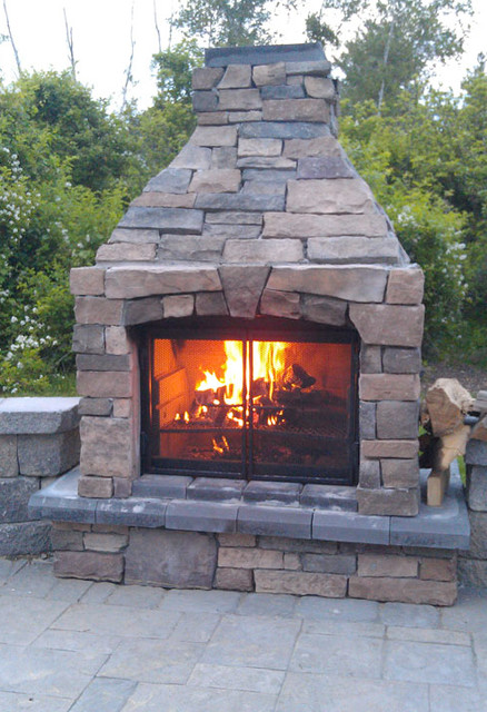 Perfect Outdoor Fireplace 3 Screen Transitional