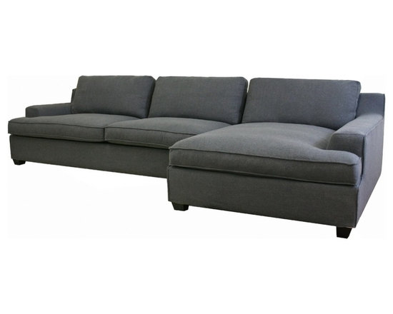 Baxton Studio - Baxton Studio Kaspar Slate Gray Fabric Modern Sectional Sofa - Kaspar's width and comfort make it the sofa you will look forward to relaxing on every evening! This contemporary sofa is large enough to seat at least five adults with room to spare. Constructed with care, the modern sectional starts with a solid wood frame, foam cushioning, and black wood feet. Trendy, goes-with-everything gray twill upholsters the sectional and is made to be removable with Velro if the need arises. In addition, all cushions can be removed as well as their twill covers. Non-marking feet finish off the set. Note: the sofa and chaise are freestanding and do not secure to one another. Assembly is required