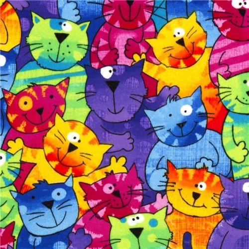 funny colourful cats flannel fabric Timeless Treasures USA fabric