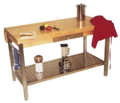 Cucina Grande Prep Table with Butcher Block Top modern-kitchen-countertops