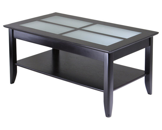 Winsomewood - Syrah Coffee Table with Frosted Glass - Here's a coffee table that's solid beechwood with frosted glass inlays and a storage shelf. And it's affordable. What's the catch? Some assembly required. Give a little, get a lot!