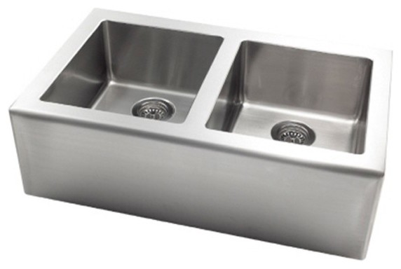 Large Apron Sink : Pegasus AP2033 Apron Front Large Double Bowl Kitchen Sink in Stainless ...