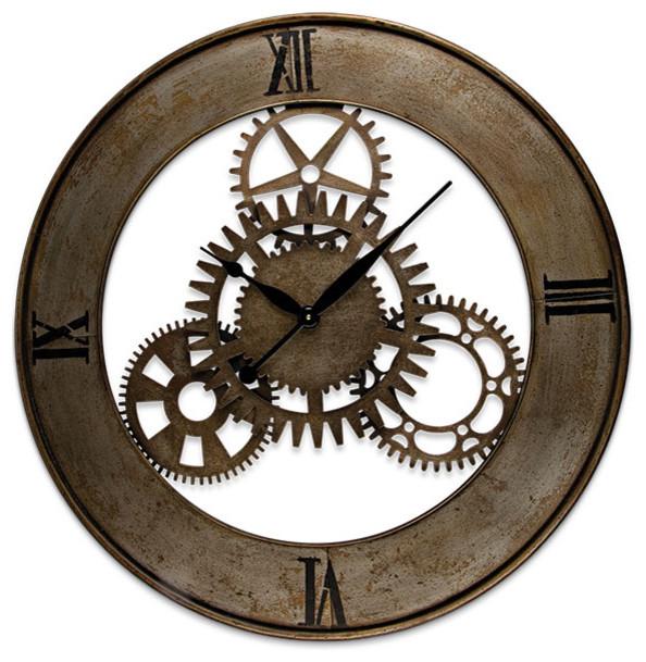 Open back metal gear clock eclectic clocks atlanta for Open gear wall clock