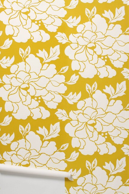 Paeonia Wallpaper, Gold eclectic-wallpaper