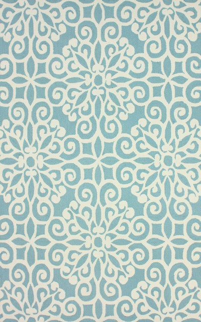 """Transitional 7' 6"""" x 9' 6"""" Lt Blue Hand Hooked Area Rug Cotton Lattice VST37 contemporary-area-rugs"""