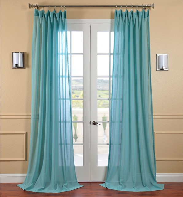 Lagoon faux linen sheer curtain panel contemporary for Linen sheer window panels