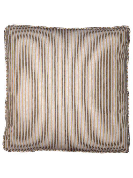 Yellow Ticking Stripe Pillow Covers by Carol Tate - High-end Custom and Ready made pillows available on-line. Limited Edition Decorative Pillow Covers in a Delightful, Woven Ticking Stripe in All Cotton.  Yellow and White Stripes Bordered by Narrow Pin Stripes in Black. See Coordinate Pillows.   Couture Custom Workroom Services Available. Artisanaworks