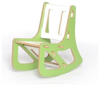 Sprout Childrens Rocking Chair - Green and White modern rocking chairs