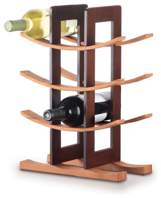 Bamboo 12-bottle Wine Rack Espresso Accent contemporary-wine-racks