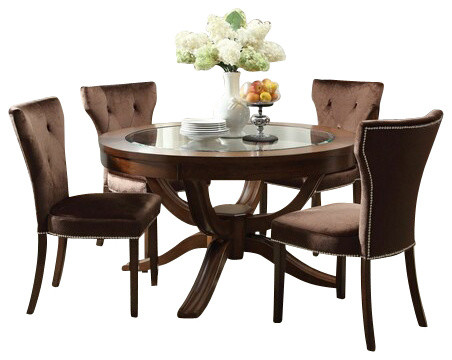 5 PC Kingston Contemporary Collection Brown Cherry Finish Wood Round Table Se