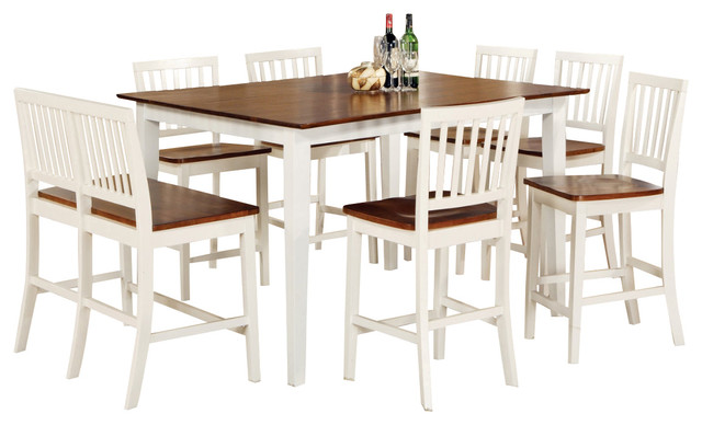 Counter Height White Dining Set : ... Counter Height Set in White with Leaf - Traditional - Dining Sets - by