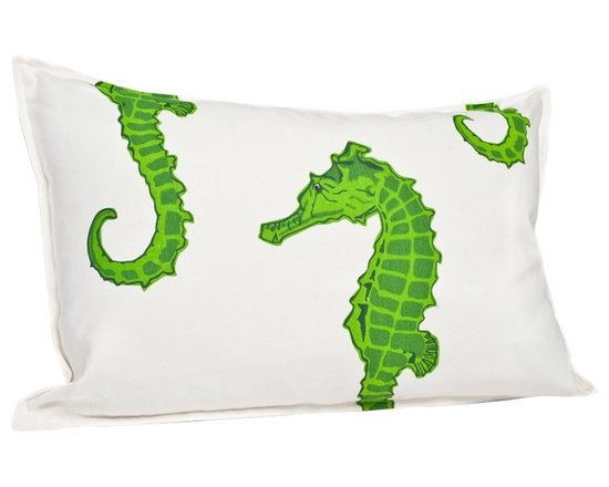 ecoaccents Green Seahorse Rectangle Cotton Canvas Pillow