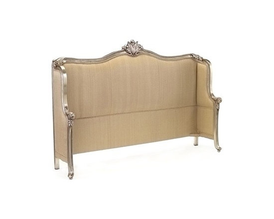 Mountbatten King Headboard by John Richard - The Mountbatten Headboard showcases elegant, feminine design with its sleek upholstery, unique shape, and carved details finished in Old Silver.