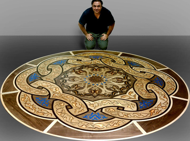 Wood floor inlaid designs medallions eclectic new york for Wood floor medallion designs