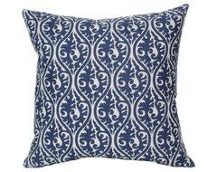 Elisabeth Michael Kimono Blue Throw Pillow contemporary-decorative-pillows