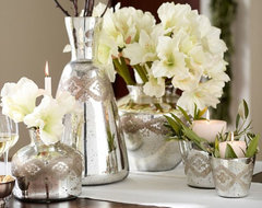 Etched Mercury Glass Vases contemporary-vases