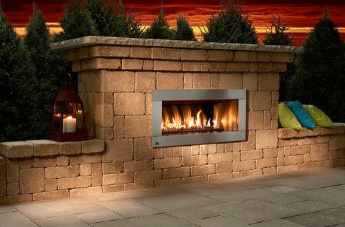 Contemporary stone outdoor fireplace kit craftsman for Craftsman gas fireplace
