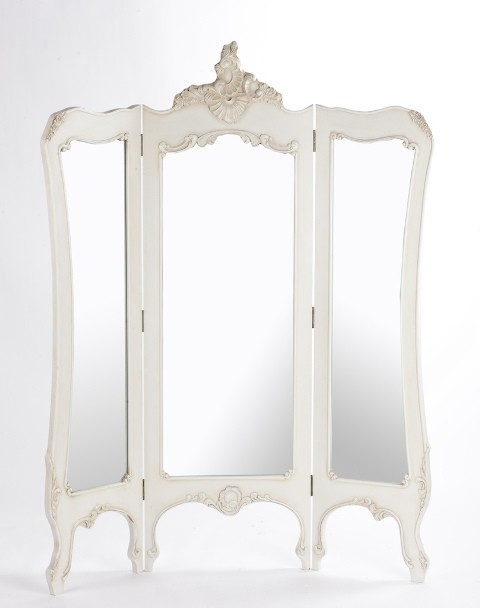 French boudoir 3 screen mirror traditional mirrors