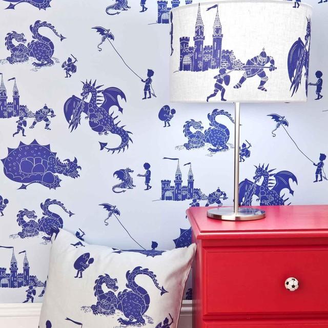 Blue Dragon Wallpaper For Children contemporary-wallpaper