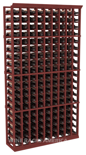 9 Column Standard Cellar Rack in Mahogany with Cherry Stain traditional-wine-racks