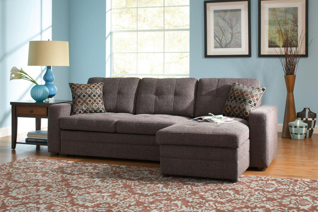 Coaster Small Chenille Storage Sectional Sofa Left Chaise