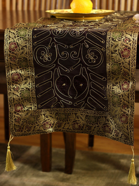 """Elegant Table Runners - Beautiful """"Ornamental Embroidered"""" Coffee Brown table runner. Hand crafted in India. Great complement to any table top."""