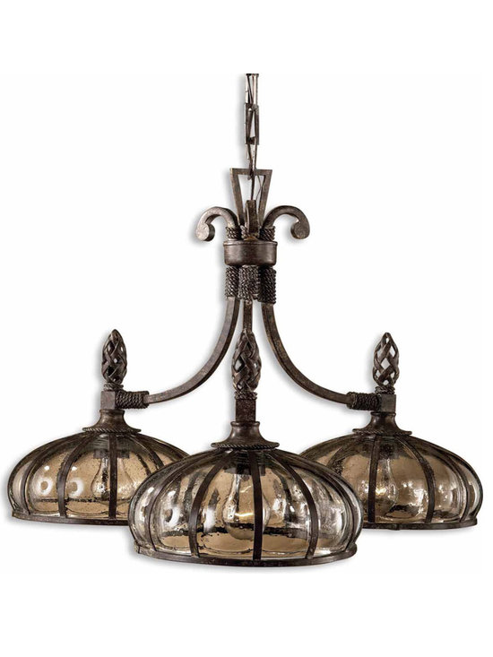 Galeana 3-Light Chandelier by Uttermost 21046 with Mouth Blown Glass - This Chandelier has features such as mouth blown glass banded and structured with iron, and trimmed with rope and open weave touches. Designer by Carolyn Kinder.