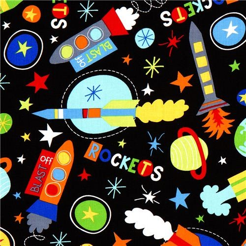 Black fabric with rockets stars space robert kaufman for Kids space fabric