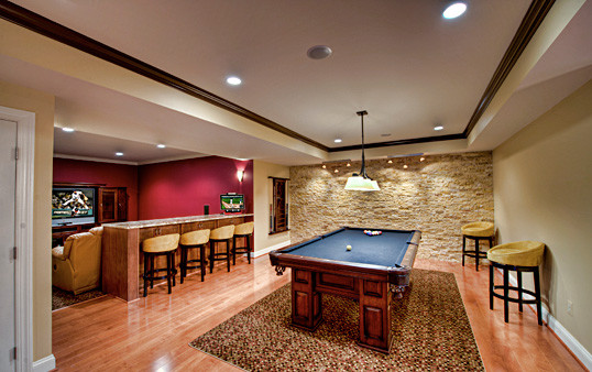 Great Falls Basement Pool Theatre Area Contemporary Basement Other Metro By Synergy