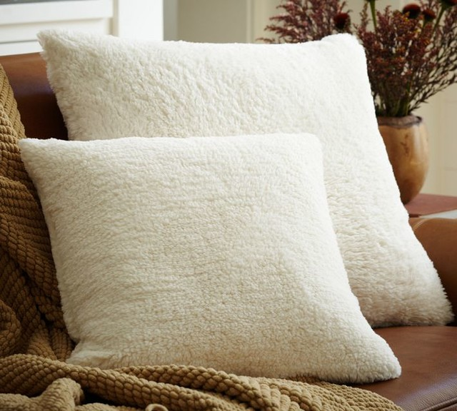 Faux-Sheepskin Pillow Cover contemporary pillows