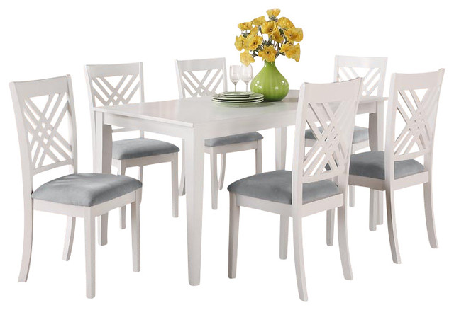 white rectangular dining table with 6 chairs traditional dining sets