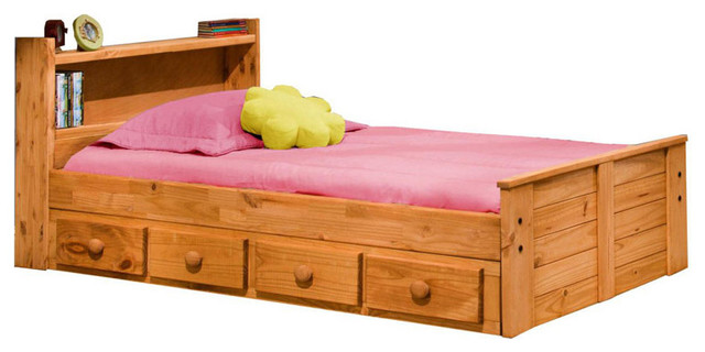 Chelsea Home Twin Bed with Bookcase Headboard and Storage ...