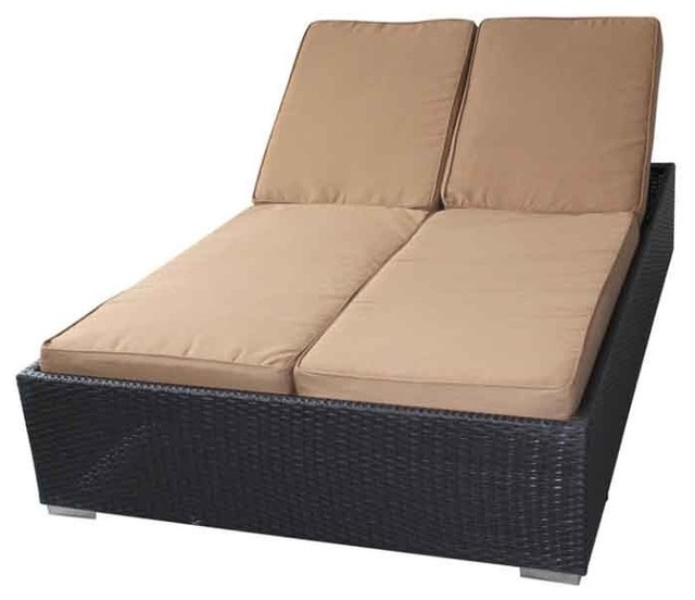 Modway - Evinve Two-Seater Outdoor Chaise Recliner In Espresso With Mocha Cushio traditional-outdoor-chaise-lounges