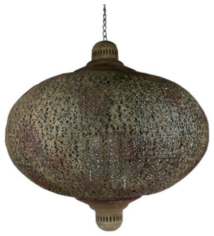 Tangier Rust Iron Lantern in Large modern-outdoor-lighting