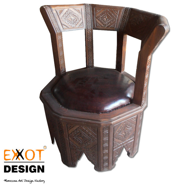 Moroccan Wooden and Italian Leather handmade chair mediterranean-chairs