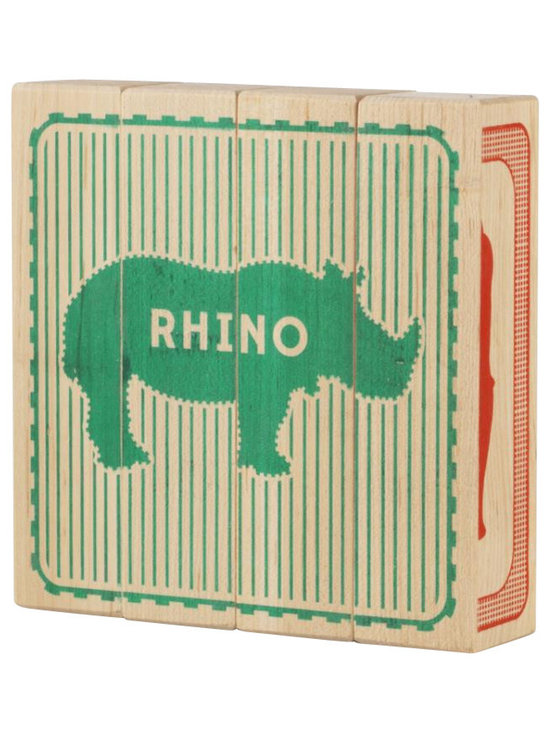 Tree Hopper Toys - Zoo Animals Puzzle Blocks - A simple yet engaging 4-sided block puzzle that exercises visual and cognitive skills.  Kids and parents alike will appreciate this vibrant, unique puzzle.  When not in use, this hand printed puzzle doubles as a one-of-a-kind art object to help accessorize any shelf in a hip kid's room!