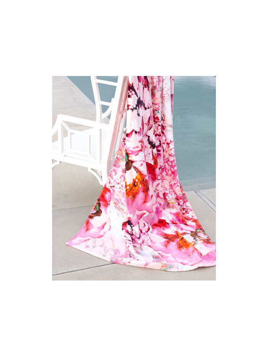 "Natori - Natori ""Bellarocca"" Beach Towel - With its elegant floral display in a combination of both cool and vibrant hues, this lovely beach towel offers the perfect balance of comfort, quality, and durability for the beach, pool, and beyond. Made of cotton. Machine wash. 40"" x 70"" Imported..."