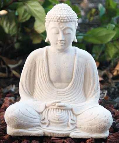 White Stone Buddha Statue traditional-garden-statues-and-yard-art