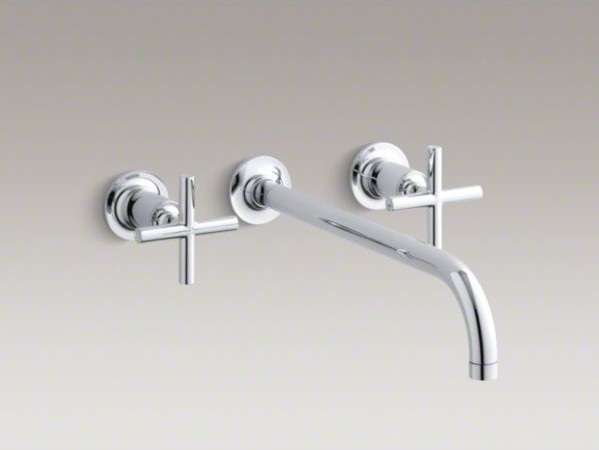 KOHLER Purist(R) widespread wall-mount bathroom sink faucet trim with cross hand contemporary-kitchen-faucets