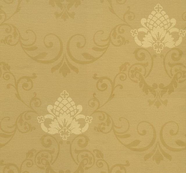 Illinois - Royal Damask Wallpaper, Gold, Beige ...