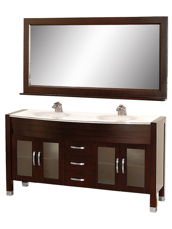 """Wyndham Collection - Daytona 63"""" Double Vanity Set w/ White Man-Made Stone Top & White Integral Sinks - The Daytona 63"""" Double Bathroom Vanity Set - a modern classic with elegant, contemporary lines. This beautiful centerpiece, made in solid, eco-friendly zero emissions wood, comes complete with mirror and choice of counter for any decor. From fully extending drawer glides and soft-close doors to the 3/4"""" glass or marble counter, quality comes first, like all Wyndham Collection products. Doors are made with fully framed glass inserts, and back paneling is standard. Available in gorgeous contemporary Cherry or rich, warm Espresso (a true Espresso that's not almost black to cover inferior wood imperfections). Transform your bathroom into a talking point with this Wyndham Collection original design, only available in limited numbers. All counters are pre-drilled for single-hole faucets, but stone counters may have additional holes drilled on-site."""